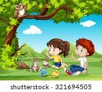 boy and girl sitting under the... | Shutterstock .eps vector #321694505