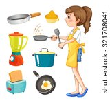 woman cooking and other kitchen ... | Shutterstock .eps vector #321708041