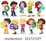 children holding number zero to ...   Shutterstock .eps vector #321717197