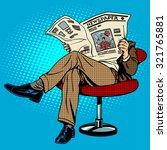 newspaper reading man pop art... | Shutterstock .eps vector #321765881
