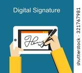 digital signature on tablet   Shutterstock .eps vector #321767981