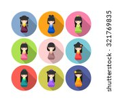 set of vector round japanese... | Shutterstock .eps vector #321769835