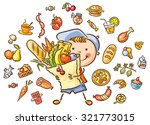 child with a big bag full of... | Shutterstock .eps vector #321773015