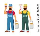 smiling painter dressed in work ...   Shutterstock .eps vector #321785021