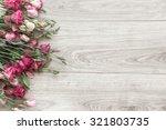 Pink Eustoma Flowers On Natura...