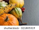 Pumpkins  Corn Cob And Berries...