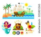 pirate theme vector... | Shutterstock .eps vector #321821261