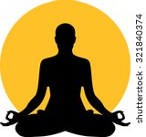 meditation in front of moon sun | Shutterstock .eps vector #321840374