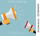 digital marketing. megaphone... | Shutterstock .eps vector #321864044