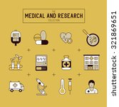 medical and research icon set.  | Shutterstock .eps vector #321869651