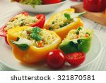 stuffed peppers with vegetables ... | Shutterstock . vector #321870581