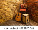 Music Instruments On Wooden...