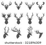 Set Of A Deer Head Silhouette...