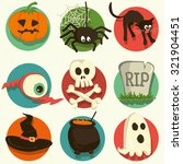 set of vector halloween cartoon ... | Shutterstock .eps vector #321904451