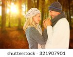 cute smiling couple holding... | Shutterstock . vector #321907901