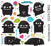 funny cute little black monster ... | Shutterstock .eps vector #321917801