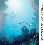 vector underwater illustration  ... | Shutterstock .eps vector #321945029