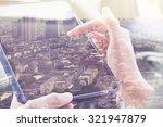 using digital tablet double...   Shutterstock . vector #321947879