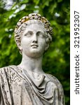 Small photo of Head of marble statue of roman Ceres or greek Demeter in the park of the Palace and park complex Estate of G. Galagan. Sokyryntsi village, Ukraine