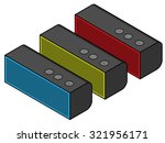 a group of portable speakers.   Shutterstock .eps vector #321956171