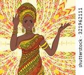 dancing beautiful african woman ...   Shutterstock .eps vector #321962111