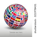 flags of the world on a globe.... | Shutterstock .eps vector #321978431
