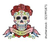 day of the dead skull with... | Shutterstock .eps vector #321991871
