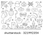 scary objects doodle set | Shutterstock .eps vector #321992354