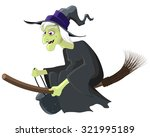 witch riding a broom   Shutterstock .eps vector #321995189