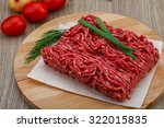 Raw Minced Beef Meat With Gree...