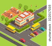 isometric school building with...