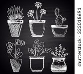 chalk drawn set with different ... | Shutterstock .eps vector #322018691