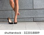 Woman Put Off Right Leg From...