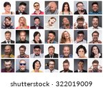diverse people's faces. collage ... | Shutterstock . vector #322019009