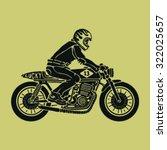 biker sitting on cafe racer...   Shutterstock .eps vector #322025657
