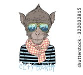 portrait of monkey city dandy ... | Shutterstock .eps vector #322032815