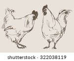 cocks vector  hand draw sketch  | Shutterstock .eps vector #322038119