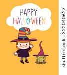 halloween cute little witch | Shutterstock .eps vector #322040627