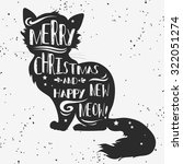 vintage greeting card. cat.... | Shutterstock .eps vector #322051274