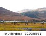 Small photo of alaskan pipeline with autumn landscape in alaska