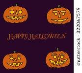 hand drawn jack o lantern... | Shutterstock .eps vector #322067579