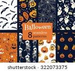 vector fun helloween pumpkins... | Shutterstock .eps vector #322073375