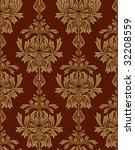 red with gold damask background - stock photo