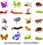 Collection Of Insects Cartoon...