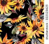 sunflowers seamless pattern on... | Shutterstock . vector #322123625