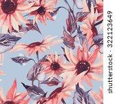 sunflowers seamless pattern on... | Shutterstock . vector #322123649