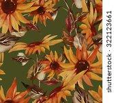 sunflowers seamless pattern on... | Shutterstock . vector #322123661
