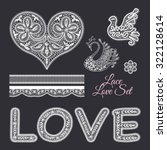 Love lace elements set.  Lace words 'love' and lace heart, swan, dove, flower and seamless lace patterns. Vector collection