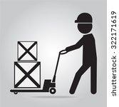 man with hand pallet jack lift... | Shutterstock .eps vector #322171619