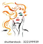 woman portrait with hand ... | Shutterstock . vector #322199939
